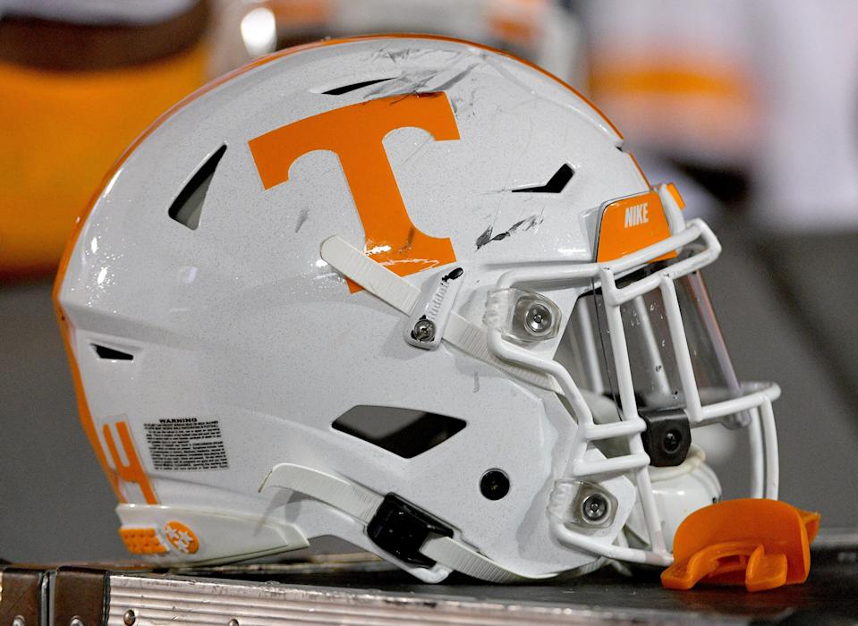 A Tennessee football helmet during a game at Memorial Stadium/Faurot Field.