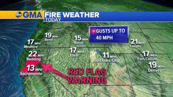 PHOTO: 22 large uncontained wildfires are burning in the western U.S. from California to Montana. (ABC News)