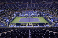 during the men's singles final of the US Open tennis championships, Sunday, Sept. 13, 2020, in New York. (AP Photo/Seth Wenig)
