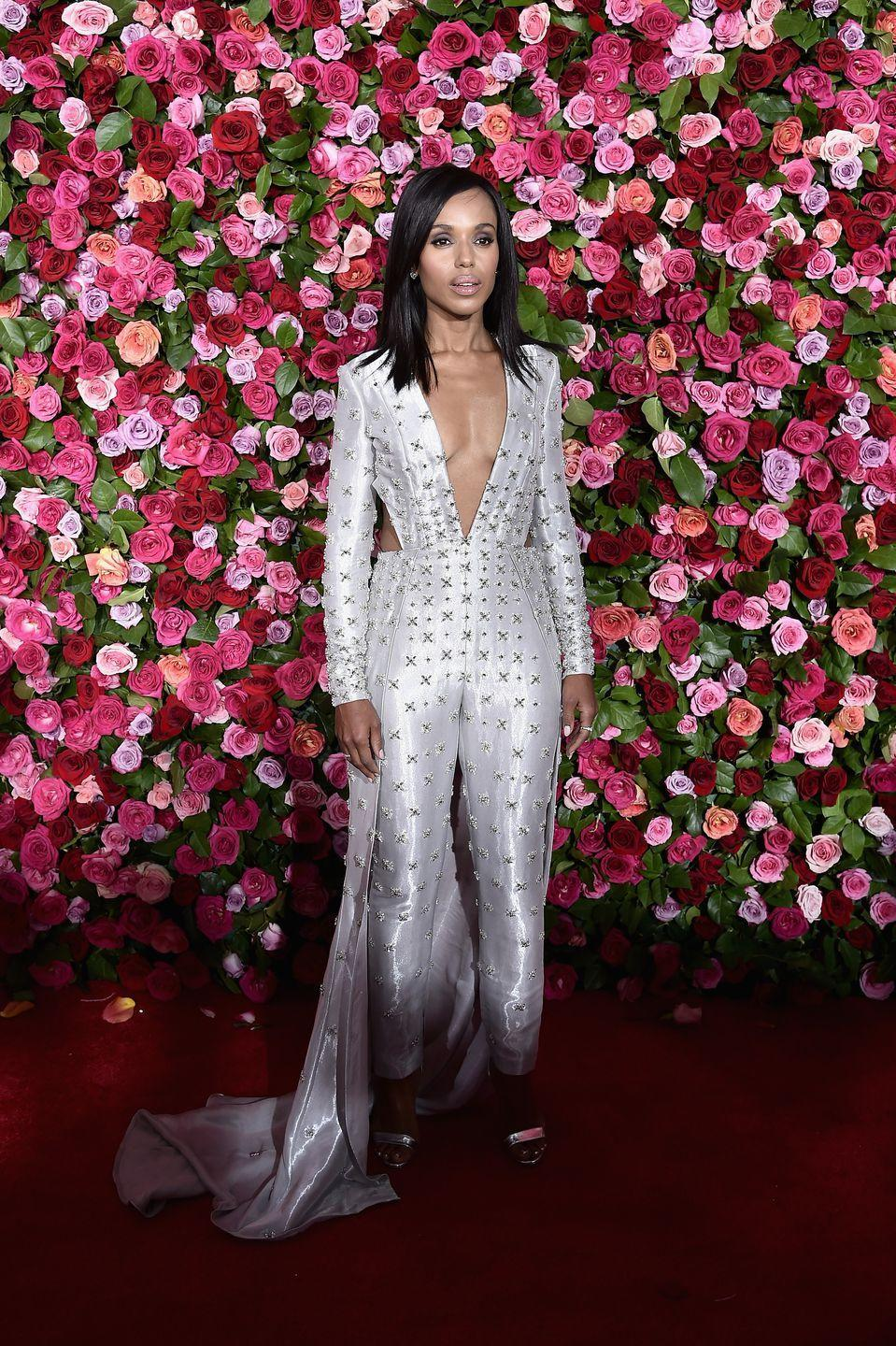 <p>The actress wore a Versace jumpsuit to the Tony Awards in New York.</p>