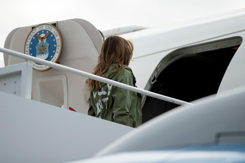'I really don't care': Melania Trump jacket stuns on migrant visit