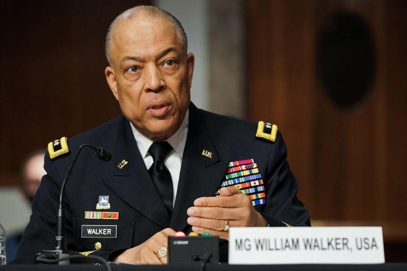 Army Maj. Gen. William Walker, Commanding General of the District of Columbia National Guard, answers questions during a Senate Homeland Security and Governmental Affairs & Senate Rules and Administration joint hearing on March 3, 2021, to discuss the January 6th attack on the US Capitol.