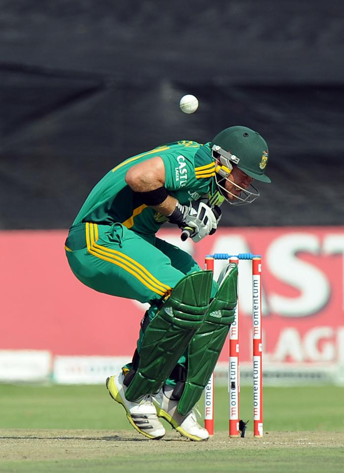 South Africa's Colin Ingram is hit by a ball during the 5th and final One-Day Internationals (ODI) cricket match between South Africa and Pakistan at Willowmoore Park in Benoni on  March 24, 2013.           AFP PHOTO / ALEXANDER JOE        (Photo credit should read ALEXANDER JOE/AFP/Getty Images)