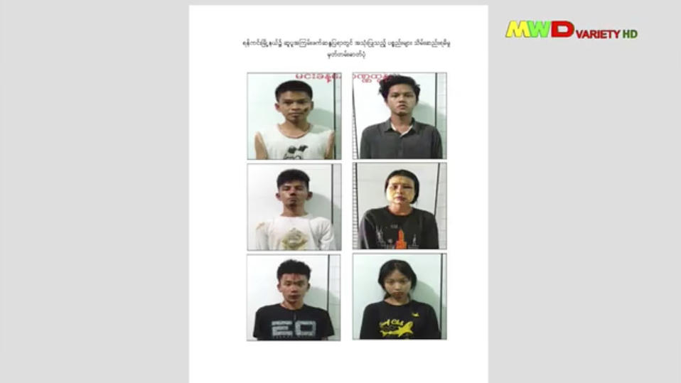 This image from an April 18, 2021 news report by Myawaddy TV shows people who security forces said they detained in a weapons raid a day earlier in the Yankin township of Yangon, Myanmar. At least 3,500 people have been detained since the military seized power in the country in February 2021, more than three-quarters of whom are male, according to an analysis of data collected by the Assistance Association for Political Prisoners, which monitors deaths and arrests. Of the 419 men whose ages were recorded in the group's database, nearly two-thirds are under age 30, and 78 are teenagers. (Myawaddy TV via AP)