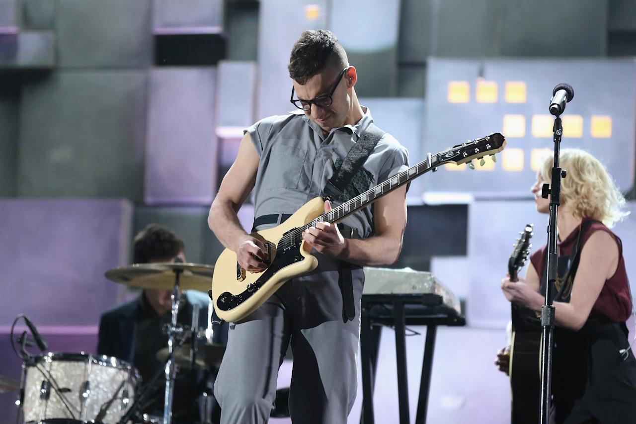 LOS ANGELES, CA - FEBRUARY 10: Guitarist Jack Antonoff of Fun. performs onstage during the 55th Annual GRAMMY Awards at STAPLES Center on February 10, 2013 in Los Angeles, California.  (Photo by Christopher Polk/Getty Images for NARAS)