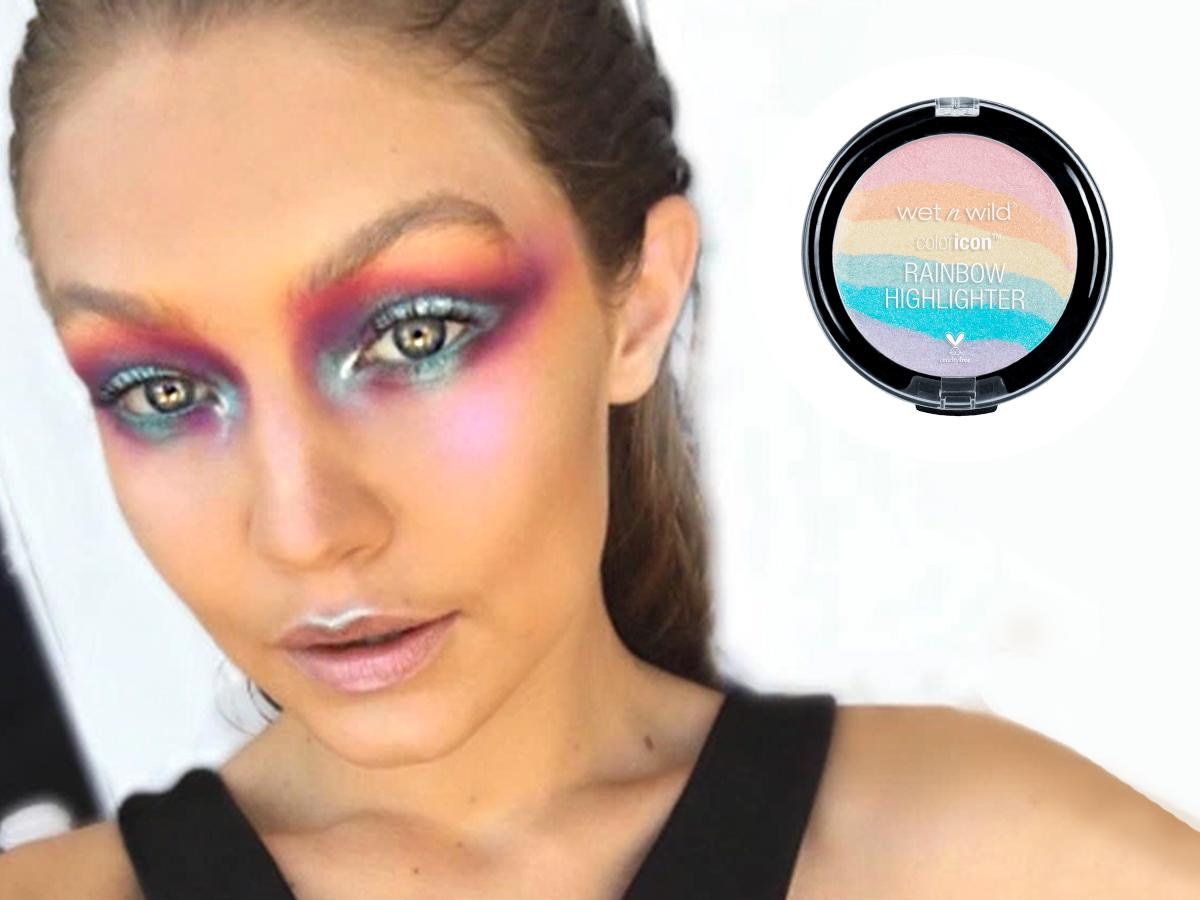 "<p><a rel=""nofollow"" href=""https://www.yahoo.com/beauty/meet-5-rainbow-highlighter-thats-162002525.html"">Rainbow highlighter</a> took the internet by storm last month, and it's the only thing you need to perfect an ethereal unicorn makeup look, as modeled by Gigi Hadid. Swipe the <a rel=""nofollow"" href=""http://www.wetnwildbeauty.com/limited-editions/exclusives/color-icon-rainbow-highlighter.html"">$5 highlighter</a> across your cheekbones up to your temples, on your brow bones, cupid's bow, down your nose, and on the inner corners of your eyes. Get serious and put it on your lips, forehead, chin, and brows too. Complete the look with hair slicked into a messy knot above your forehead. (Photo: Instagram/WetnWild) </p>"