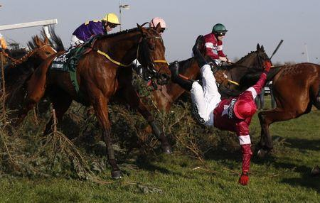 Britain Horse Racing - Grand National Festival - Aintree Racecourse - 8/4/17 Donagh Meyler falls off of Measureofmydreams during the 5:15 Randox Health Grand National Reuters / Phil Noble Livepic
