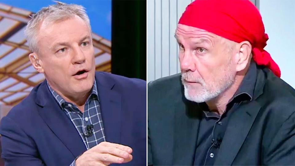 Pictured here, rugby league journalist Paul Kent and Sydney Morning Herald columnist Peter FitzSimons.