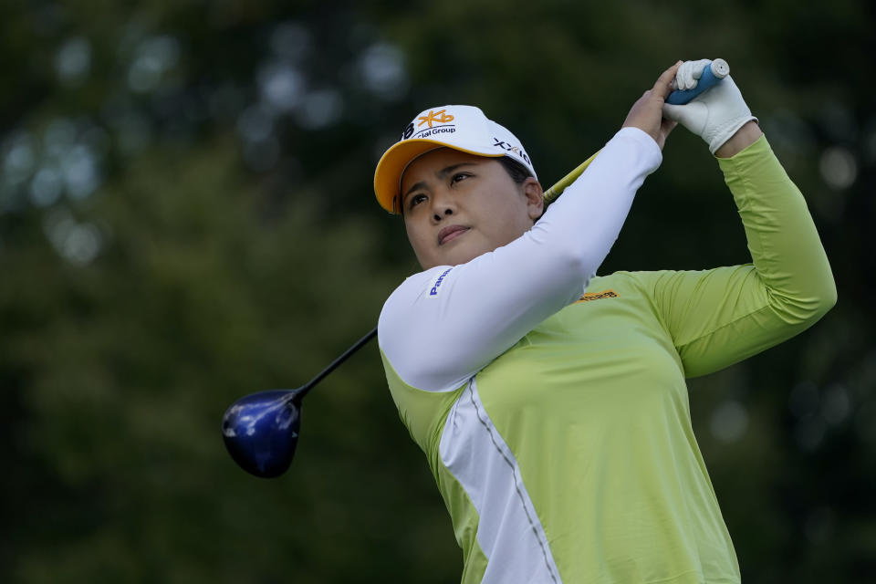 Inbee Park, of South Korea, hits off the third tee in the first round of the Cognizant Founders Cup LPGA golf tournament, Thursday, Oct. 7, 2021, in West Caldwell, N.J. (AP Photo/John Minchillo)