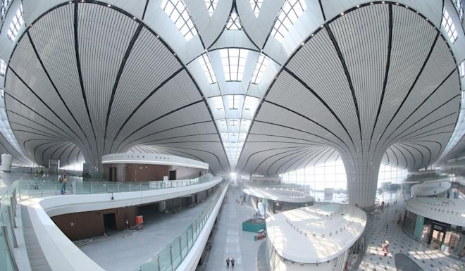 The futuristic new airport is expected to open in September. Photo: Xinhua