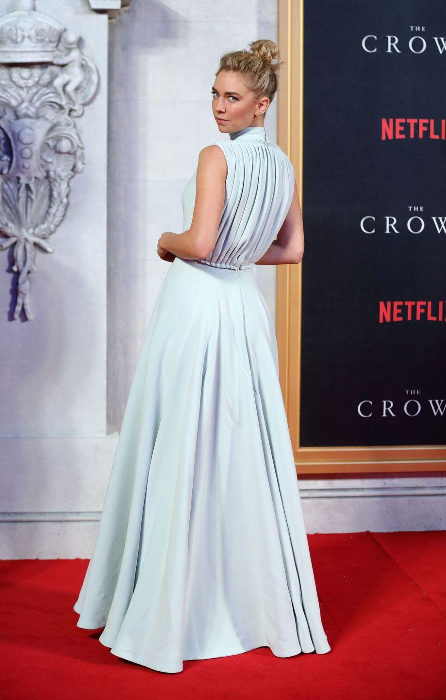 <p>In a powder blue evening gown by Emilia Wickstead at <em>The Crown </em>world premier in London.<br></p>