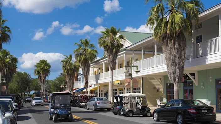 Downtown shopping area in Sumpter Landing a residential location in The Villages Florida USA.