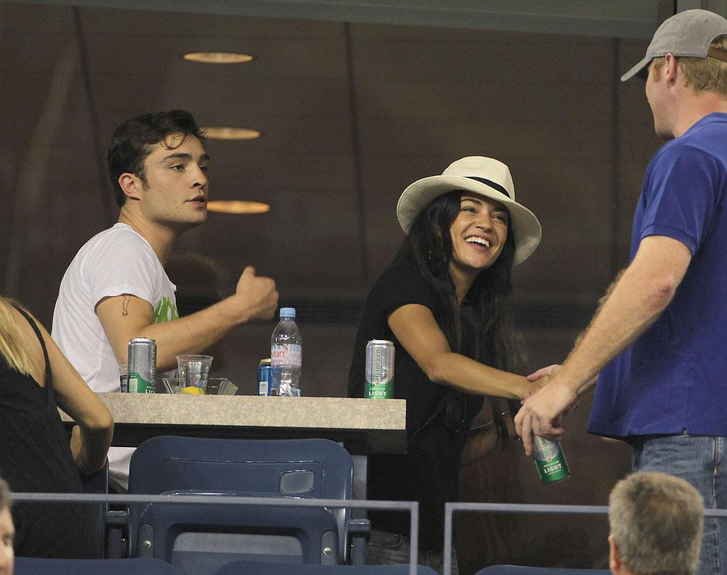 """""""Gossip Girl's"""" Ed Westwick and Jessica Szohr were also spotted taking in the match where Roddick ended up losing in the second round 3-6, 7-5, 6-3, 7-6 (7-4). Juan Soliz/<a href=""""http://www. PacificCoastNews.com"""" target=""""new"""">PacificCoastNews.com</a> - September 11, 2010"""