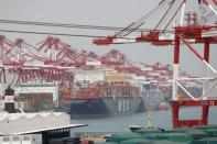 FILE PHOTO: Container ships are seen at Qingdao port