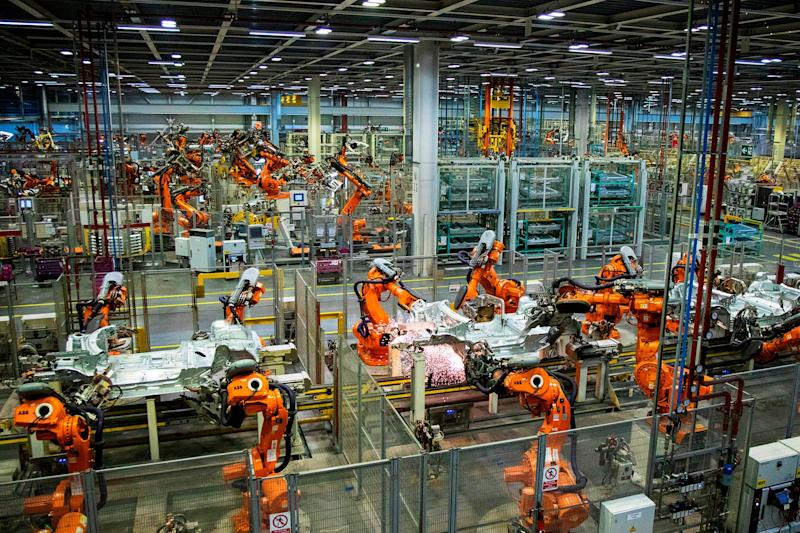 2019: Robots work on the Mini production line at a BMW plant near Oxford: AFP/Getty