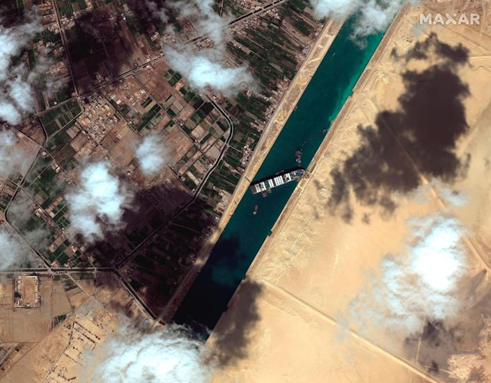 March 27, 2021: This satellite image from Maxar Technologies shows the cargo ship MV Ever Given stuck in the Suez Canal near Suez, Egypt.