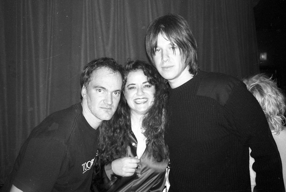 <p>Quentin Tarantino and musician John Oszajca pose for a portrait at The Viper Room in Los Angeles, California on March 2, 2000.</p>