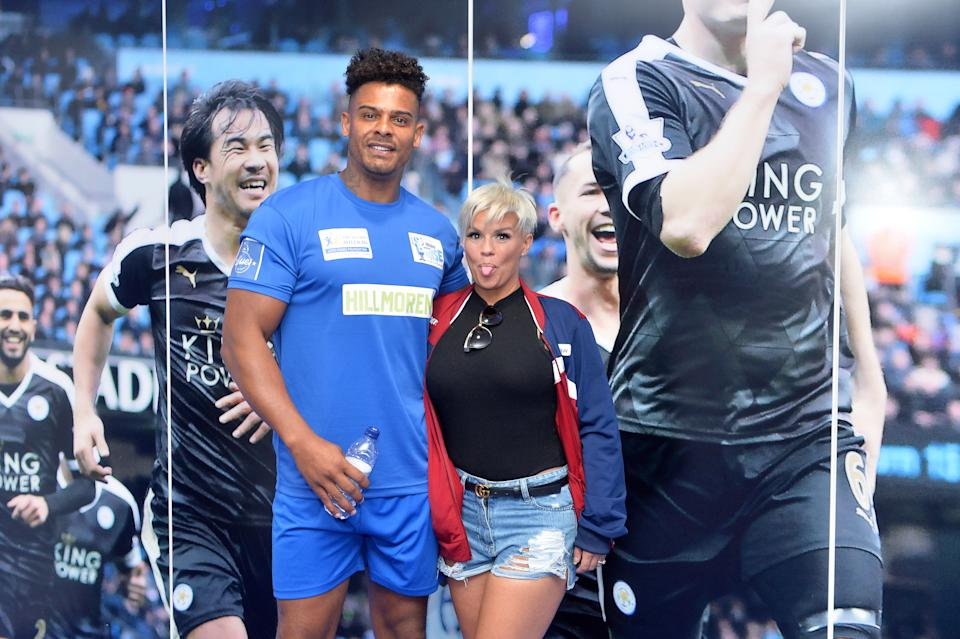 Kerry Katona with ex-husband George Kay at King Power Stadium ahead of the Celebrity Charity Football Match (Credit: Plumb Images/Leicester City FC via Getty Images)