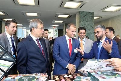 SDRPY Communications Director Abdullah bin Kadasa (right) briefs Yemeni Foreign Minister Mohammed Al-Hadhrami (center) and Yemeni Ambassador to the United States Ahmed Awad BinMubarak (second from right) on SDRPY projects at UN Headquarters.