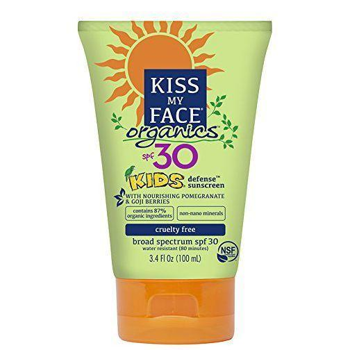 """<p><strong>Kiss My Face </strong></p><p>amazon.com</p><p><strong>$10.18</strong></p><p><a href=""""http://www.amazon.com/dp/B01A1A6AKC?tag=syn-yahoo-20&ascsubtag=%5Bartid%7C10055.g.20688867%5Bsrc%7Cyahoo-us"""" rel=""""nofollow noopener"""" target=""""_blank"""" data-ylk=""""slk:Shop Now"""" class=""""link rapid-noclick-resp"""">Shop Now</a></p><p>This kids' formula from Kiss My Face is <strong>made with 87% certified organic ingredients</strong>, including botanicals like sunflower oil and pomegranate extract. Reviewers say that the cream spreads well on skin, but don't forget to knead the bottle first to avoid a clumpy texture.</p>"""