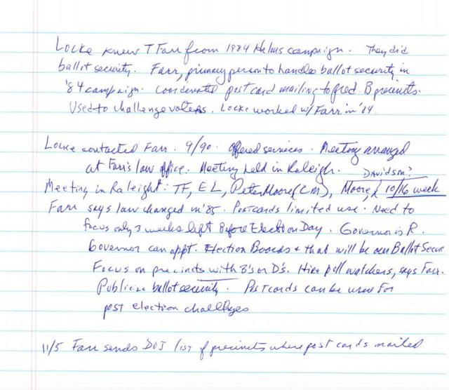 Gerald Hebert's notes on Thomas Farr participating in an October 1990 meeting about sending misleading postcards to black voters in North Carolina. Farr told a Senate committee earlier this year he didn't participate in the scheme as it was being developed.