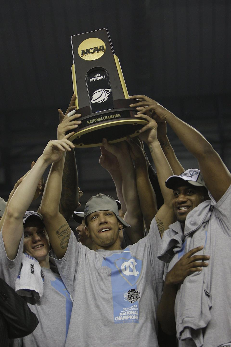 Danny Green holds the NCAA championship trophy after helping North Carolina beat Michigan State to capture the 2009 title.