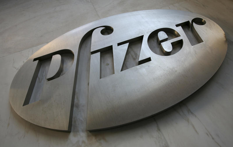 FILE - In this Jan. 25, 2009 file photo, the Pfizer logo is dispalyed at world headquarters in New York. Pfizer Inc. said Friday, Dec. 10, 2010, it is pulling its blood pressure drug Thelin off the market and stopping all clinical trials because the drug can cause fatal liver damage. (AP Photo/Mark Lennihan, file)