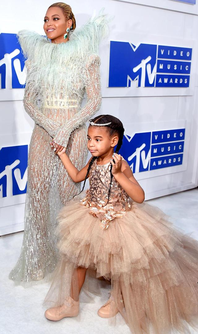 Beyonce and Blue Ivy looked stylish in sequins, tulle on the MTV VMAs red carpet together at Madison Square Garden in NYC on August 28 — see their matching styles