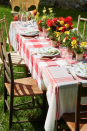 """<p>Keep your Easter brunch casual with this DIY layered tablecloth, which incorporates vintage linens. Use pinking shears to create an uneven edge, or simply tear the fabric to create frays.</p><p><a class=""""link rapid-noclick-resp"""" href=""""https://www.amazon.com/P-LOTOR-Professional-Stainless-Dressmaking-Scissors/dp/B01AVVVVZA?tag=syn-yahoo-20&ascsubtag=%5Bartid%7C10050.g.1111%5Bsrc%7Cyahoo-us"""" rel=""""nofollow noopener"""" target=""""_blank"""" data-ylk=""""slk:SHOP PINKING SHEARS"""">SHOP PINKING SHEARS</a></p>"""