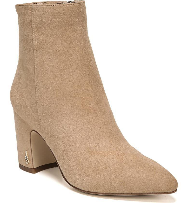 """<p><strong>SAM EDELMAN</strong></p><p>nordstrom.com</p><p><strong>$111.96</strong></p><p><a href=""""https://go.redirectingat.com?id=74968X1596630&url=https%3A%2F%2Fshop.nordstrom.com%2Fs%2Fsam-edelman-hilty-bootie-women%2F5514074&sref=http%3A%2F%2Fwww.cosmopolitan.com%2Fstyle-beauty%2Ffashion%2Fg30057282%2Fshop-nordstrom-black-friday-cyber-monday-sale-2019%2F"""" rel=""""nofollow noopener"""" target=""""_blank"""" data-ylk=""""slk:Shop Now"""" class=""""link rapid-noclick-resp"""">Shop Now</a></p><p>The curved heel and sleek silhouette of this suede style makes it a winter staple. They also come in black leather, FYI.</p>"""