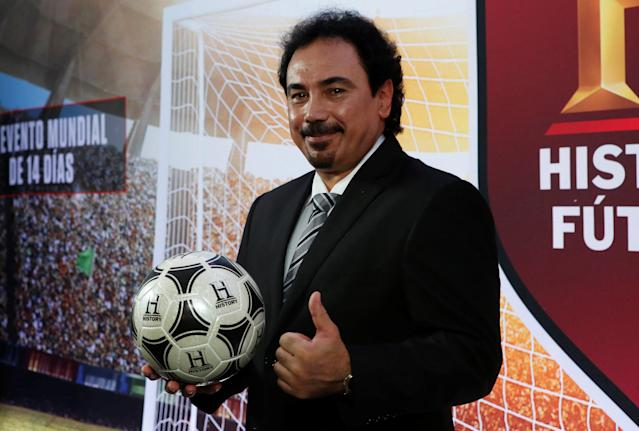 Former Mexico and Real Madrid striker Hugo Sanchez poses for a picture before a news conference in Mexico City, Mexico April 26, 2018. REUTERS/Ginnette Riquelme
