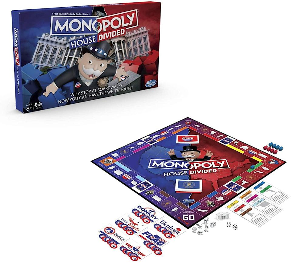 <p>While playing the <span>Monopoly House Divided Board Game</span> ($19), your twins will compete to become president, winning states along the way rather than buying properties.</p>