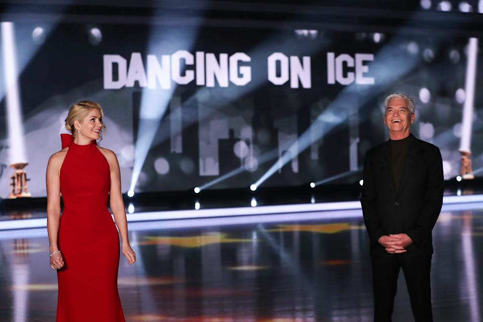 Editorial use only Mandatory Credit: Photo by Matt Frost/ITV/Shutterstock (11777383e) Phillip Schofield and Holly Willoughby 'Dancing On Ice' TV show, Series 13, Episode 6, Hertfordshire, UK - 28 Feb 2021