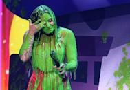 <p>Literally the exact face I would make if someone poured green slime all over my body.</p>