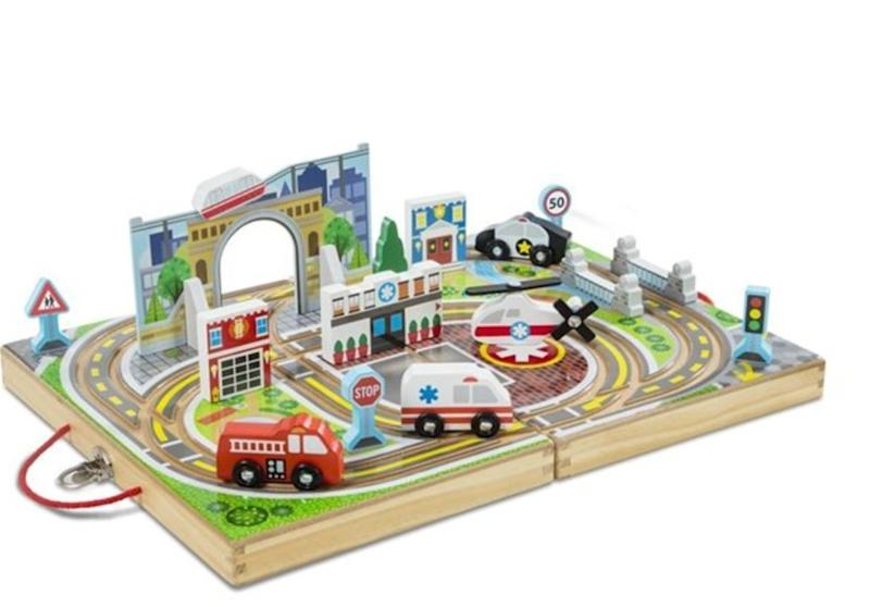 "Yes, this vehicle set is more stuff, but all the pieces and the track itself folds back up, perfect for shoving on a shelf. Get it at <a href=""https://www.chapters.indigo.ca/en-ca/toys/melissa-doug-take-along-tabletop/000772301411-item.html"" target=""_blank"" rel=""noopener noreferrer"">Indigo</a>, $39.99."