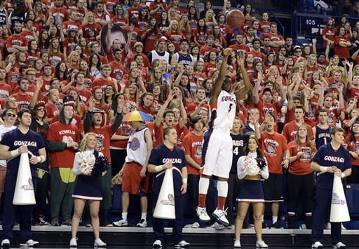 Gonzaga's Gary Bell Jr. shoots without a San Francisco defender near in the first half of an NCAA college basketball game, Saturday, Jan. 26, 2013, in Spokane, Wash. (AP Photo/Jed Conklin)