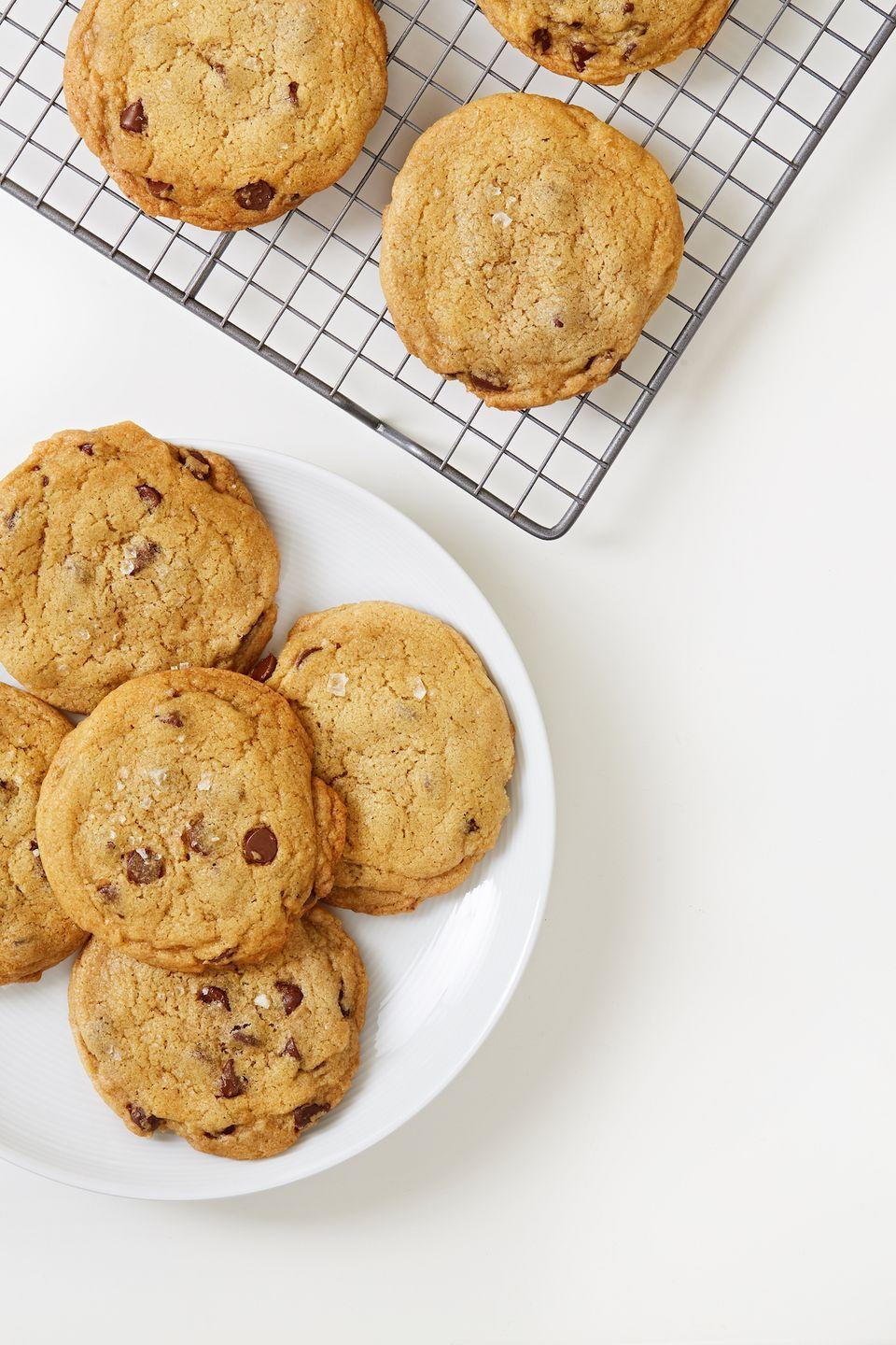 """<p>The idea that <a href=""""https://www.delish.com/cooking/g4807/vegan-desserts/"""" rel=""""nofollow noopener"""" target=""""_blank"""" data-ylk=""""slk:vegan desserts"""" class=""""link rapid-noclick-resp"""">vegan desserts</a> can't be delicious is a total myth. These cookies perfectly chewy inside and a bit crisp on the edges - good enough to prove any nay-sayer wrong.</p><p>Get the recipe from <a href=""""https://www.delish.com/cooking/recipe-ideas/a32687711/vegan-chocolate-chip-cookies/"""" rel=""""nofollow noopener"""" target=""""_blank"""" data-ylk=""""slk:Delish"""" class=""""link rapid-noclick-resp"""">Delish</a>.</p>"""