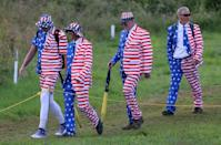 USA fans walk the course during day one of The Open at Royal Portrush Golf Club.