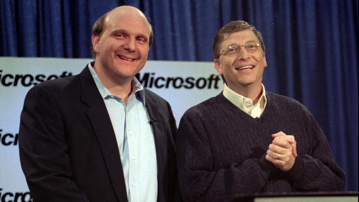Mandatory Credit: Photo by Barry Sweet/AP/Shutterstock (6484636a)BALLMER GATES Microsoft's Steve Ballmer, left, and Bill Gates react to a question during a news conference in Redmond, Wash.