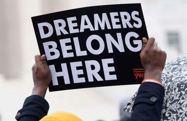 PHOTO: In this file photo immigration rights activists hold a rally in front of the US Supreme Court in Washington, D.C., Nov. 12, 2019, as the Court hears arguments about ending the Obama-era DACA (Deferred Action for Childhood Arrivals) program. (Saul Loeb/AFP via Getty Images, FILE)