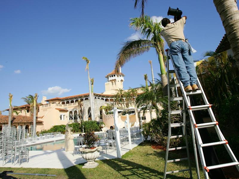 Workers at Donald Trump's Mar-a-Lago property prepare for a 2005 event. The resort employed at least 246 foreign guest workers under the H-2B visa from 2013 to 2015: Evan Agostini/Getty Images