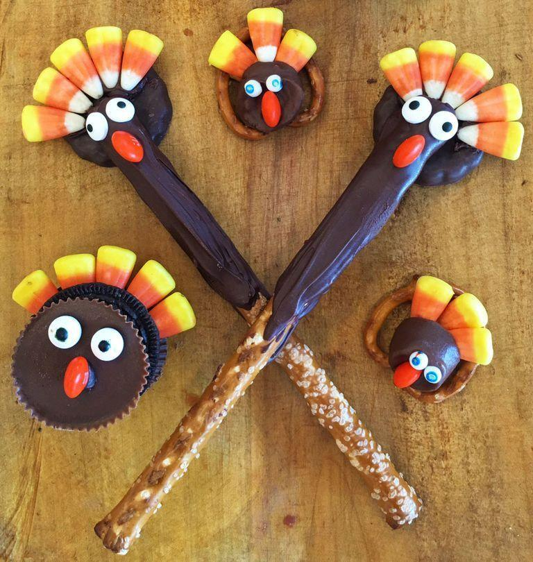 "<p>Invite the kids into the kitchen to help you craft up these adorably festive desserts. </p><p><em><a href=""https://www.goodhousekeeping.com/holidays/thanksgiving-ideas/a35469/candy-turkey-shaped-desserts/"" rel=""nofollow noopener"" target=""_blank"" data-ylk=""slk:Get the recipe for Candy Turkey Treats »"" class=""link rapid-noclick-resp"">Get the recipe for Candy Turkey Treats »</a></em></p>"