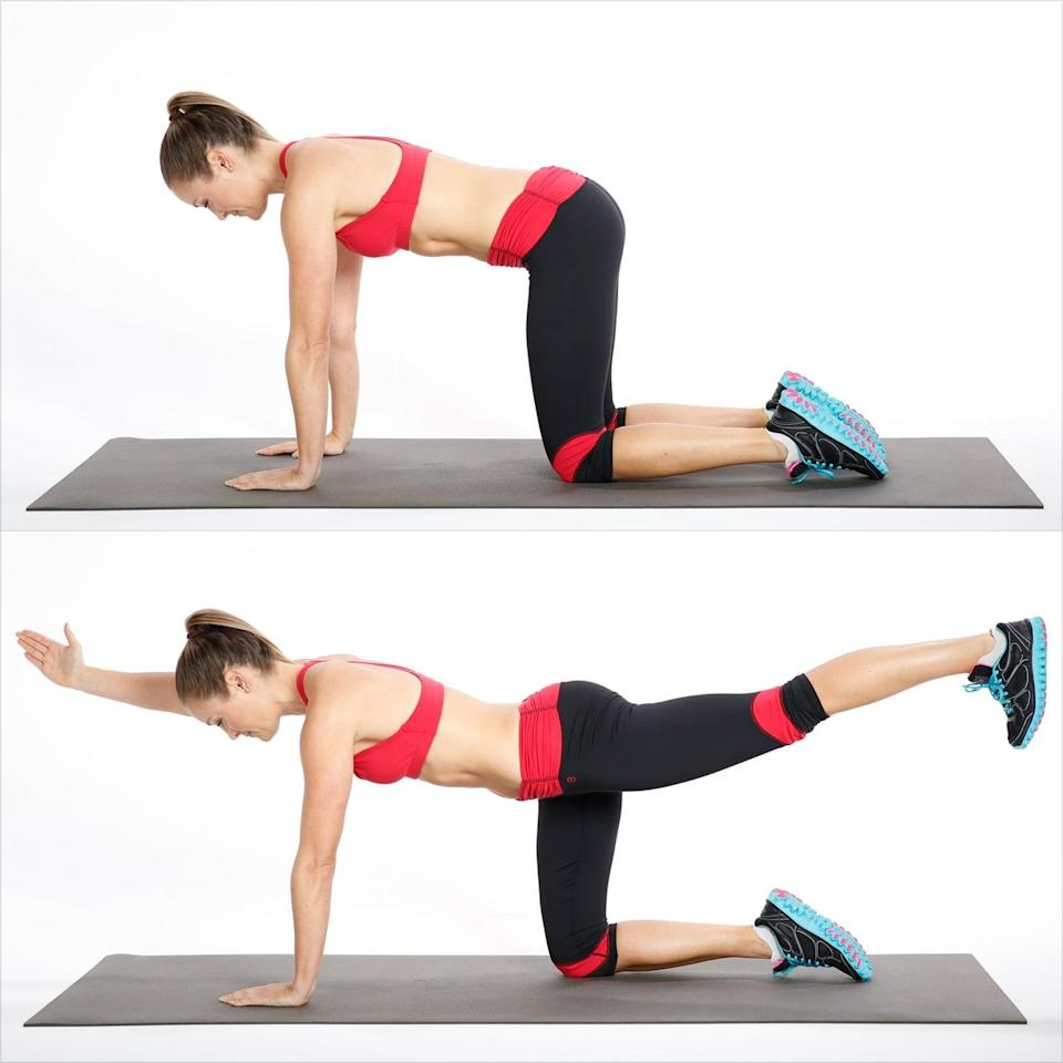 <ul> <li>Begin on all fours with your hands directly under your shoulders and your knees directly under your hips.</li> <li>Pull your abs in to your spine. Keeping your back and pelvis still and stable, reach your right arm forward and left leg back. Don't allow your pelvis to rock side to side as you move your leg behind you, and don't let your rib cage sag toward the floor. Reach through your left heel to engage the muscles in the back of your leg and your butt.</li> <li>Return to the starting position, placing your hand and knee on the floor. Repeat on the other side.</li> <li>This counts as one rep. Complete two sets of 10 reps.</li> </ul>