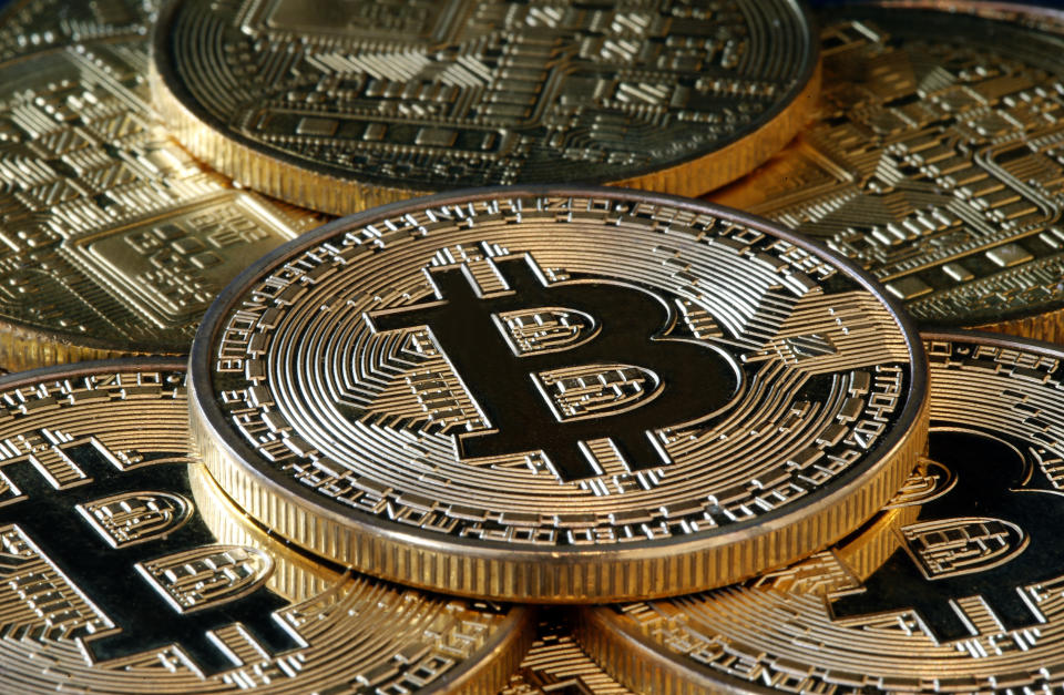 PARIS, FRANCE - DECEMBER 17: In this photo illustration, a visual representation of the digital Cryptocurrency, Bitcoin is on display on December 17, 2020 in Paris, France. The value of Bitcoin (BTC) has exceeded the threshold of 20,000 dollars for the first time in history. This increase could be explained in particular by the growing interest of institutional investors in the most famous cryptocurrency. During the last 24 hours, the value of Bitcoin has risen 16.8% to cross the symbolic mark of 20,000 dollars and climb to 23,250 dollars. (Photo illustration by Chesnot/Getty Images)
