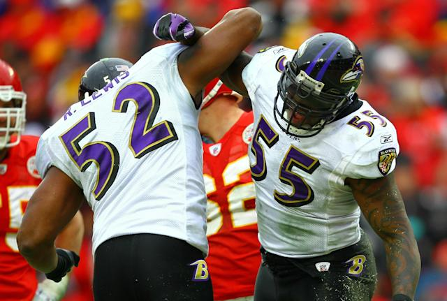 KANSAS CITY, MO - JANUARY 09: Linebackers Ray Lewis #52 and Terrell Suggs #55 of the Baltimore Ravens celebrate a play during their 2011 AFC wild card playoff game against the Kansas City Chiefs at Arrowhead Stadium on January 9, 2011 in Kansas City, Missouri. (Photo by Dilip Vishwanat/Getty Images)