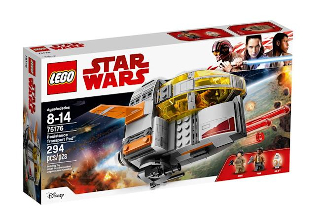 "<p>""Escape to safety in the Resistance Transport Pod. Open the cockpit, seat Finn and Rose and launch! If our heroes run into trouble, turn the engine to aim the stud shooter or roll the wheel to fire the spring-loaded shooters! Now has anyone seen BB-8?"" $29.99 (Photo: Lego) </p>"