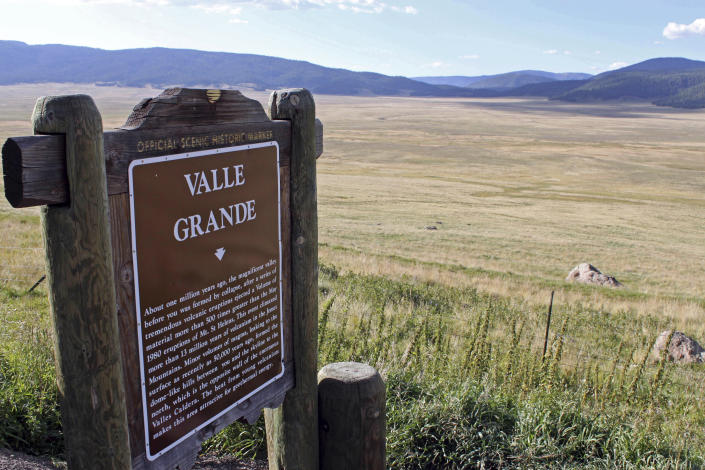 FILE - This Sept. 3, 2010, file photo, shows the grasslands at Valles Caldera National Preserve, N.M. Gov. Michelle Lujan Grisham signed an executive order Wednesday, Aug. 25, 2021, making New Mexico the latest western state to join an ambitious effort to conserve nearly one-third of America's lands and waters by 2030. (AP Photo/Susan Montoya Bryan, File)