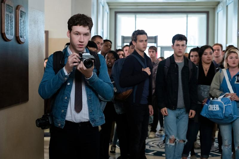 13 REASONS WHY, (aka THIRTEEN REASONS WHY), from left: Devin Druid, Brandon Flynn, Dylan Minnette, (Season 4, ep. 402, aired June 5, 2020). photo: David Moir / Netflix / Courtesy Everett Collection