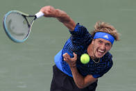 FILE - Alexander Zverev, of Germany, serves to Andrey Rublev, of Russia, during the men's single final of the Western & Southern Open tennis tournament in Mason, Ohio, in this Sunday, Aug. 22, 2021, file photo. Zverev is seeded for the U.S. Open, the year's last Grand Slam tennis tournament. Play in the main draw begins in New York on Monday, Aug. 30. (AP Photo/Aaron Doster, File)