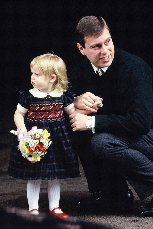 "<p>No longer an only child, Princess Beatrice met her younger sister for the first time wearing a smocked dress with a Peter Pan collar and Mary Janes. Here's proof the royals never change: <a href=""https://www.goodhousekeeping.com/life/a19981218/princess-charlotte-age-birth/"" target=""_blank"">Princess Charlotte</a> wore an <a href=""https://www.goodhousekeeping.com/life/a19953873/prince-william-prince-george-princess-charlotte-hospital/"" target=""_blank"">extremely similar ensemble</a> when Prince Louis was born earlier this year. </p><p><strong>RELATED:</strong> <a href=""https://www.goodhousekeeping.com/life/a20662277/princess-eugenie-full-name/"" target=""_blank"">The Special Meaning Behind Prince Eugenie's Full Name</a></p>"